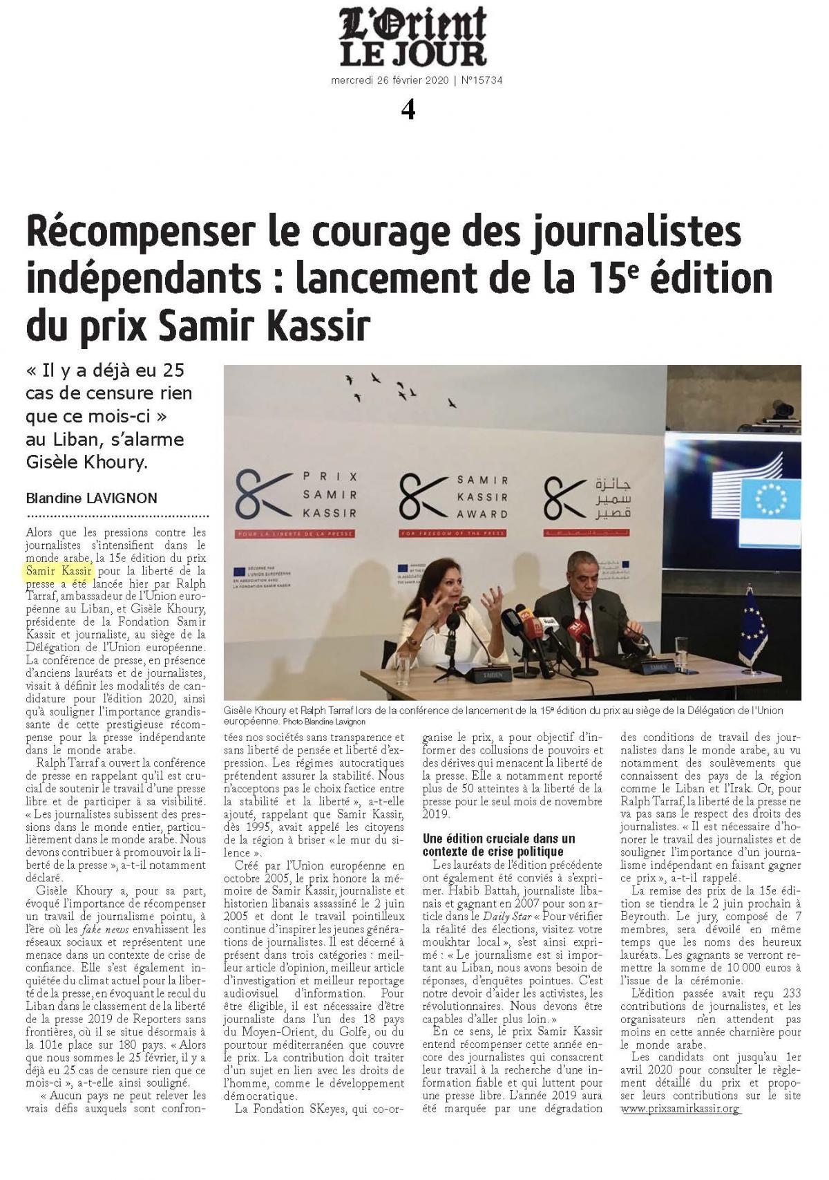 Samir Kassir Award in L'Orient-Le Jour - 26 February 2020